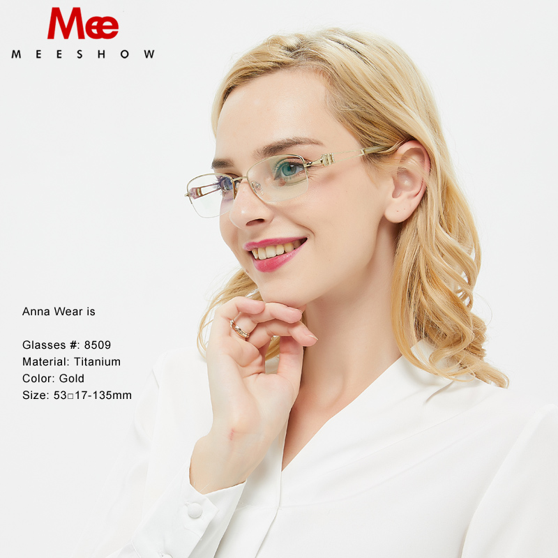 Pure Titanium women s glasses frame Rhinestones miopia eye glasses high quality Europe stylish optical eyewear