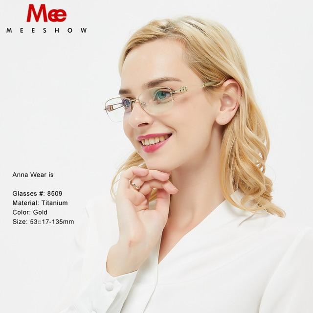 b0ee97ff61 MEESHOW Titanium Glasses frame women stylish optical frame Rhinestones prescription  glasses Titan high quality eyeglasses