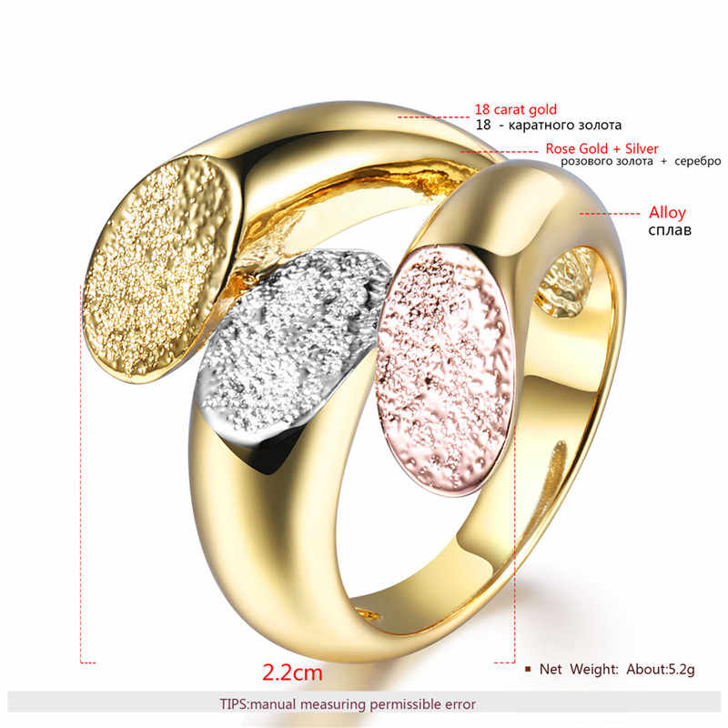 ROXI Charm ส่วนบุคคล Anillos Gold ค็อกเทลปาร์ตี้แหวนกว้างสำหรับผู้หญิงสามสีหญิงขนาดแหวนเครื่องประดับ bague 2018