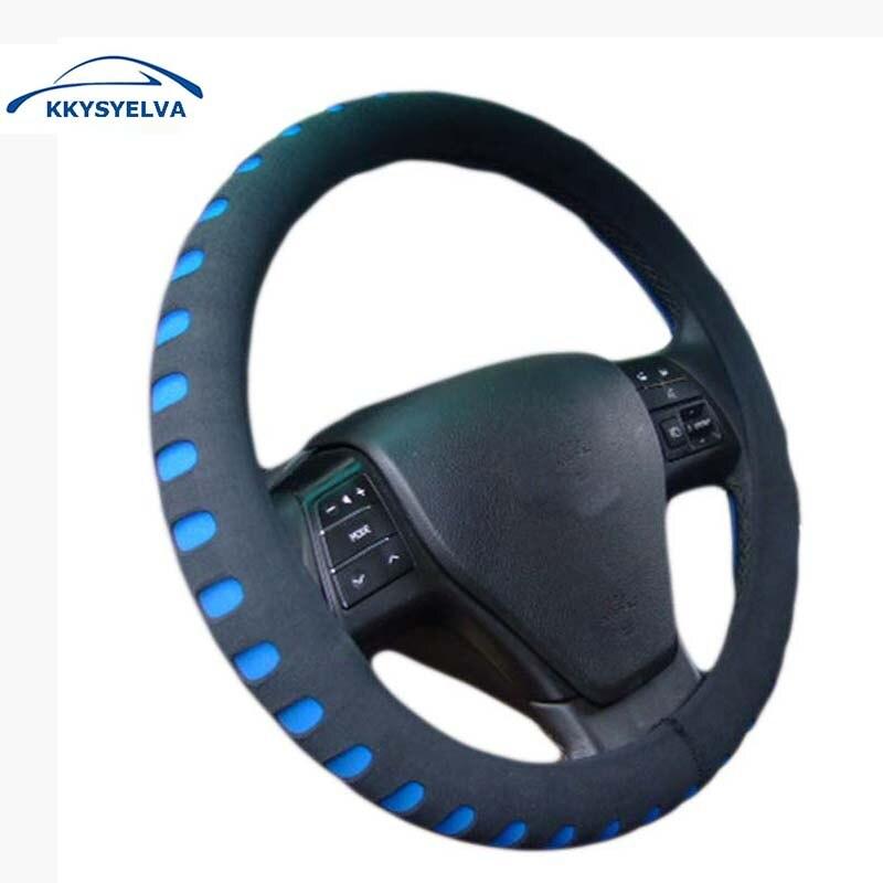 KKYSYELVA EVA Poinçonnage Rouge couverture de volant de voiture 38 CM Universal Auto Volant couvre Voiture Accessoires Intérieurs