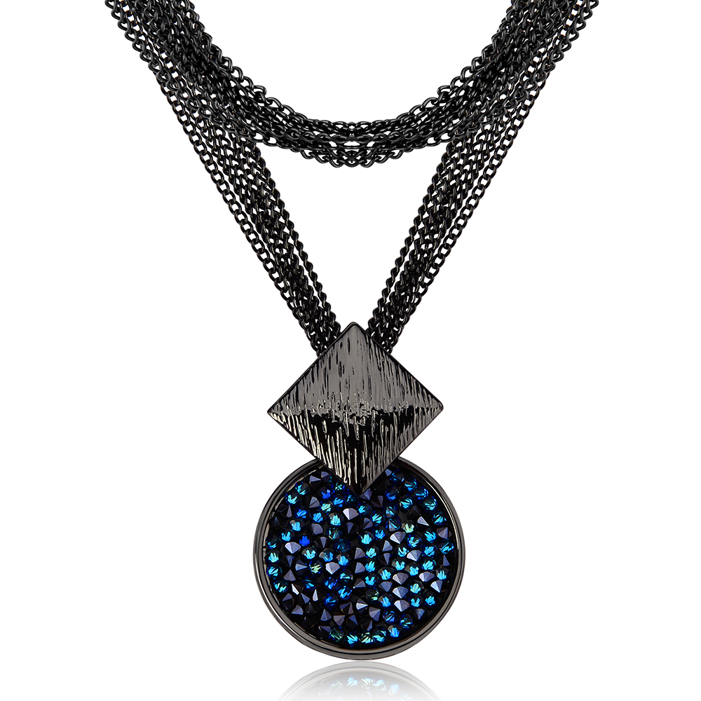 Viennois New Blue Crystal Fashion Rhinestone Pendant Earrings Ring Bracelet and Long Necklace Sets For Women Jewelry Sets