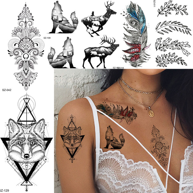 90d36c7b59f4a Tribal Henna Totem Temporary Tattoo Stickers Women Leags Featber Body Chest Arm  Art Fake Tatoos 3D Elk Waterproof Tattoo Fox