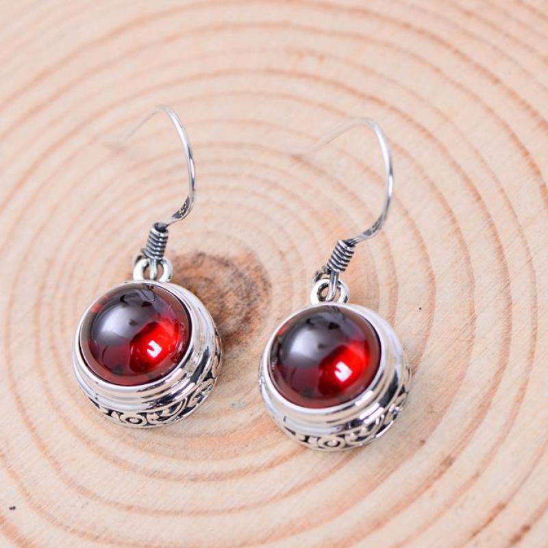 Natural Garnet Onyx Silver  Hook Earrings
