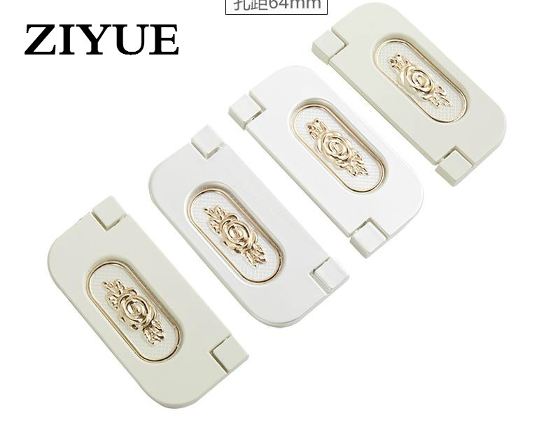 2PCS Lot Free Shipping Bright Dark Handle European Style Ivory Invisible Furniture Cabinet Drawer Zinc Alloy