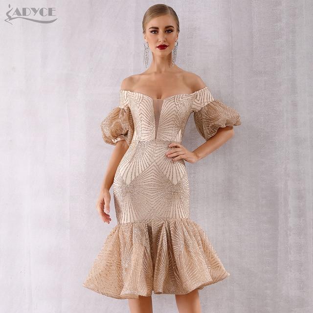 Adyce New Summer Bandage Dress Women Vestido 2019 Sexy Slash Neck Short Sleeve Off Shoulder Midi Celebrity Evening Party Dresses 5