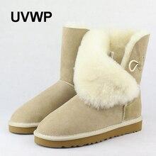 Uvwp Бесплатная доставка Одежда высшего качества женские зимние ботинки на натуральной овчине зимние сапоги на 100% натуральном меху теплые зимние ботинки