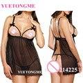 L XL XXL XXXL Nova traseira aberta Sexy Lingerie hot as mulheres Atam Roupa Interior Black White Babydoll Pijamas G-string Plus Size 173
