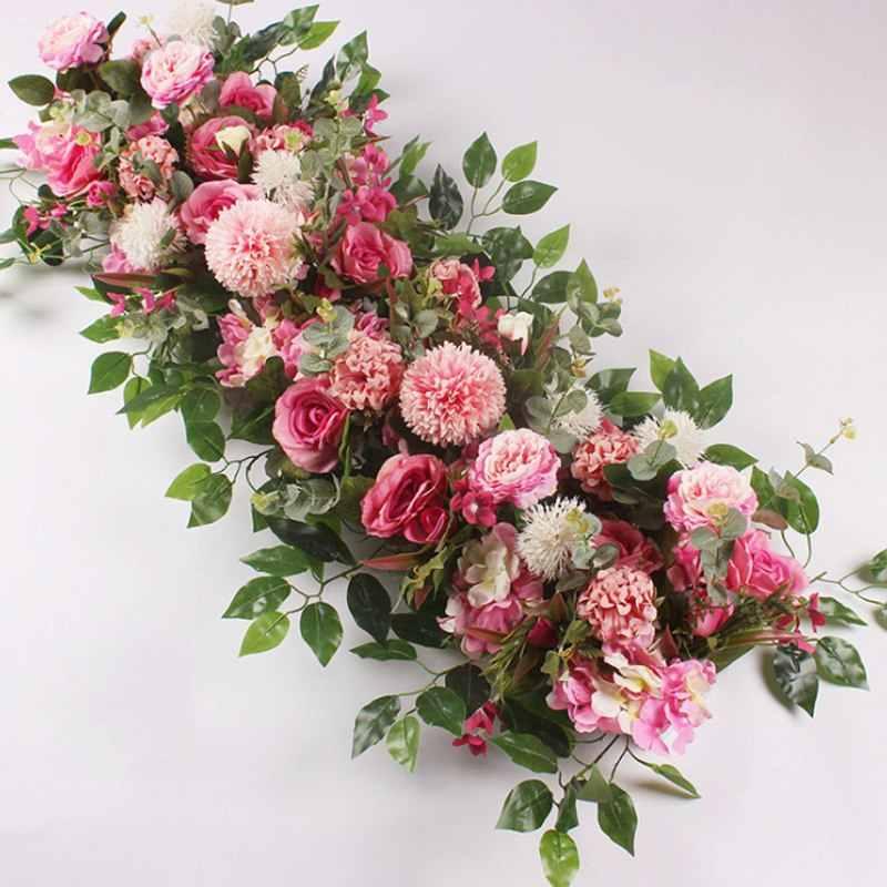 50/100 センチメートル diy の結婚式の壁配置用品シルクシャクヤクローズ造花行装飾結婚式アイアンアーチ背景
