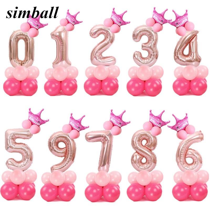 Feliz natal 1 2 3 4 5 6 7 8 9 rosa número da folha de ouro balões hélio digital ballon decoração de casamento balão de festa de aniversário