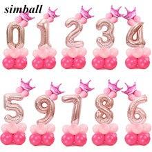 Frohe Weihnachten 1 2 3 4 5 6 7 8 9 Rose Gold Anzahl Folien Ballons Digitale Helium Ballon Hochzeit dekoration Geburtstag Party Ballon