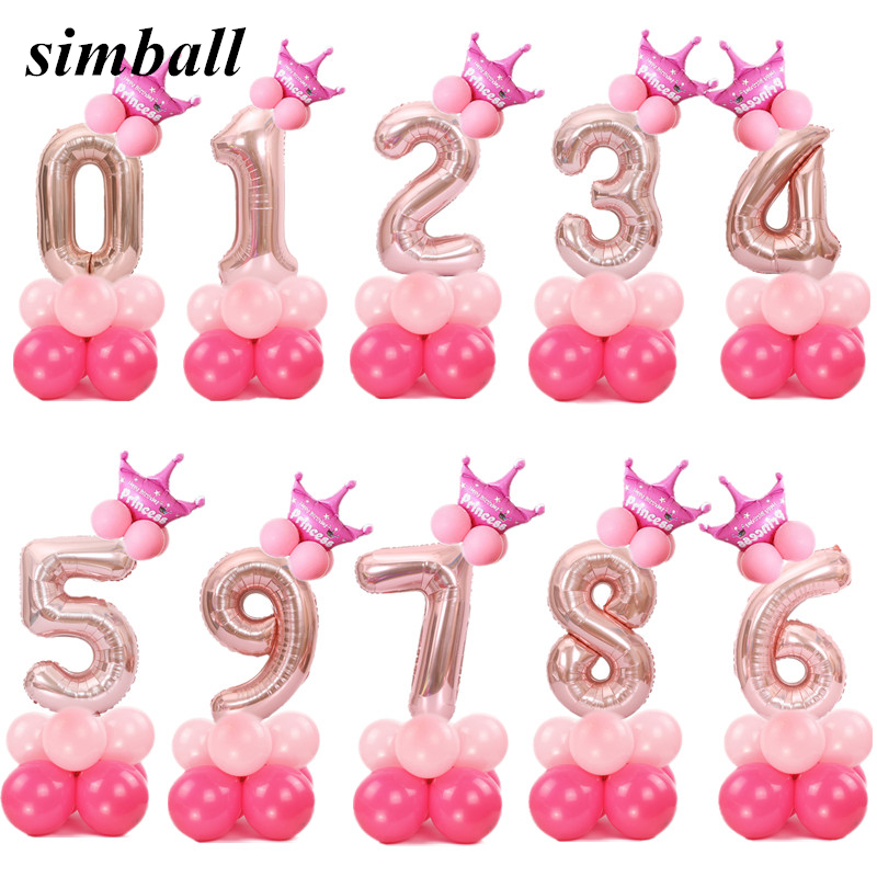 Merry Christmas <font><b>1</b></font> 2 3 4 5 6 7 8 9 Rose Gold Number Foil Balloons Digital Helium <font><b>Ballon</b></font> Wedding Decoration Birthday Party Balloon image