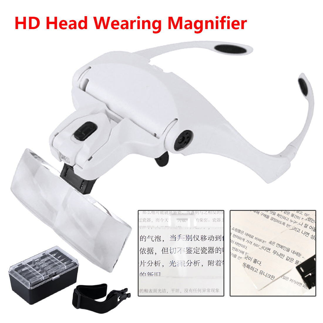 1.0X 1.5X 2.0X 2.5X 3.5X 5 Lens Adjustable Loupe Magnifier With Led Lights Lamp Headband Led Magnifying Glass For Reading