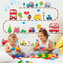 Kids Traffic Car Wall Stickers home Decor Cartoon Animal DIY Road Tree Home Decoration room Decals Wall Art Stickers New Arrival