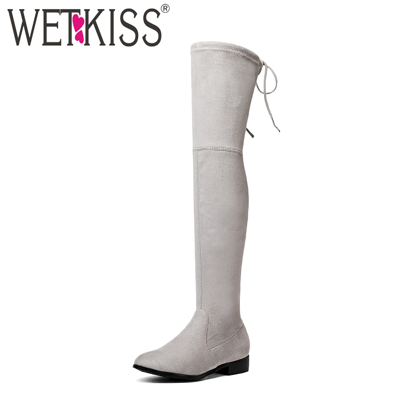 WETKISS Square Low Heel Woman Stretch Fabric Over The Knee Boots Women Shoes 2018 New Winter Ladies Motorcycle Boots Size 34-43 women real genuine leather square low heel over knee boots woman square toe warm winter shoes heeled footwear size 34 39