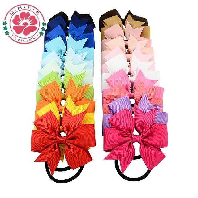 20Colors High Quality Boutique Ribbon Bow With Elastic Hair Bands Cute Pinwheel Hair Accessories For Girls 40pcs/lot 610