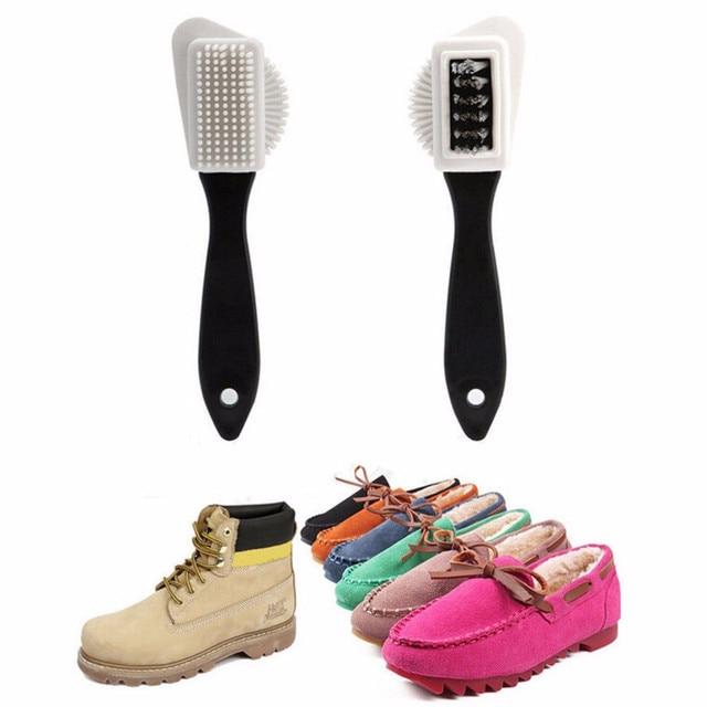 ที่มีประโยชน์รองเท้าหนังนิ่มแปรงรองเท้า Nubuck Suede Nice 3 ด้านข้างแปรงทำความสะอาดและยางลบยางสีดำ S รูปรองเท้าทำความสะอาดสำหรับหนังนิ่ม