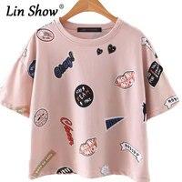 LINSHOW Cartoon List Drukuj Kobiety T Koszula Różowe Bawełniane Krótkie rękaw Podstawowe Panie Tee Topy Casual Loose 2016 Lato Kobiet TShirt