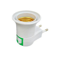 1PC Hot Sell Practical White E27 LED Light Socket To EU Plug Holder Adapter Converter ON OFF For Bulb Lamp cheap Lamp Bases ROHS FGHGF 1 year