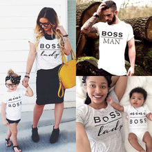 Pudcoco familia Match traje camiseta Mini Boss blanco Graphic Tees padre madre hija ropa verano