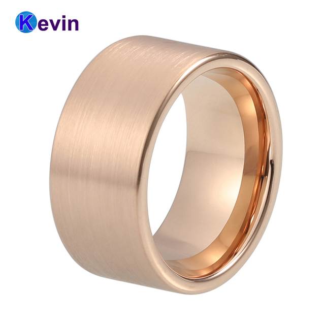 Mens Tungsten Wedding Bands.Us 14 99 Mens Tungsten Wedding Band 12mm Men Ring Rose Gold Ring With Flat Band And Satin Finish In Wedding Bands From Jewelry Accessories On