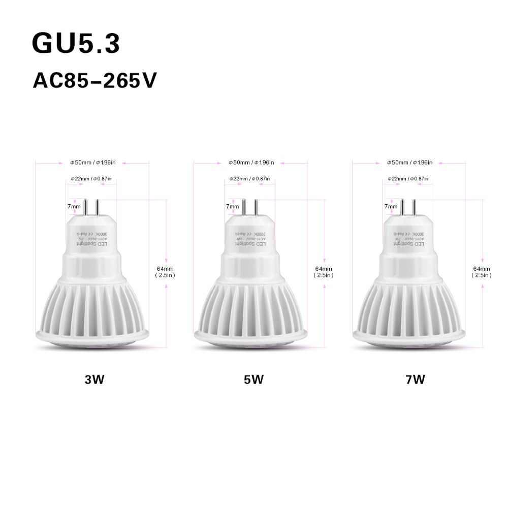 MR16 12 В DC/AC COB Светодиодный точечный светильник 3 Вт 5 Вт 7 Вт GU5.3 MR16 Светодиодный светильник 110 В 220 в алюминиевый Точечный светильник освещение гостиной