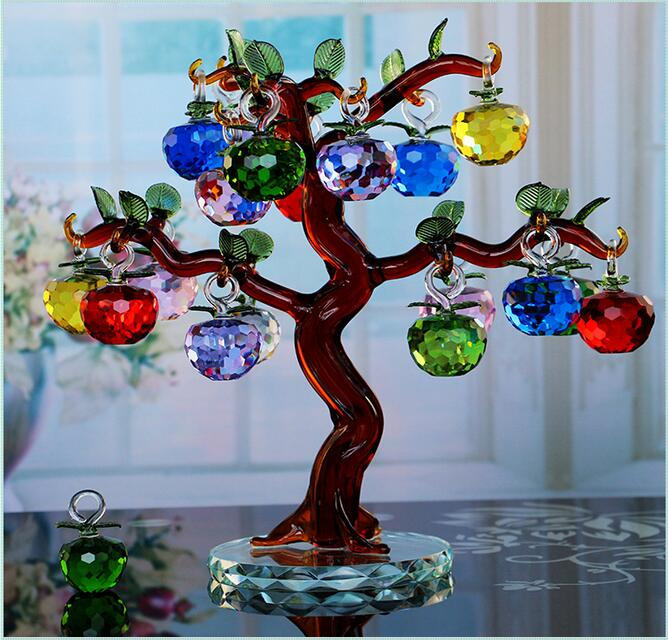 Lucky crystal apple tree home decoration wedding gift to for Apple tree decoration