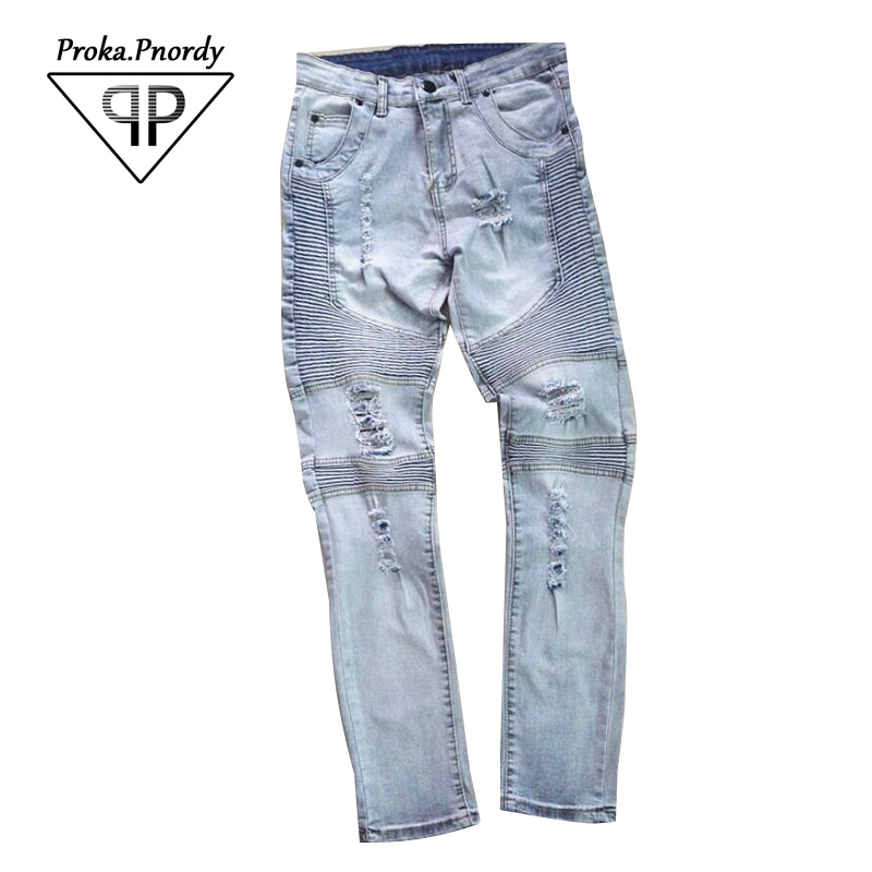 Proka Pnordy Brand pants slp blue/black destroyed mens slim denim straight biker skinny jeans men ripped jeans
