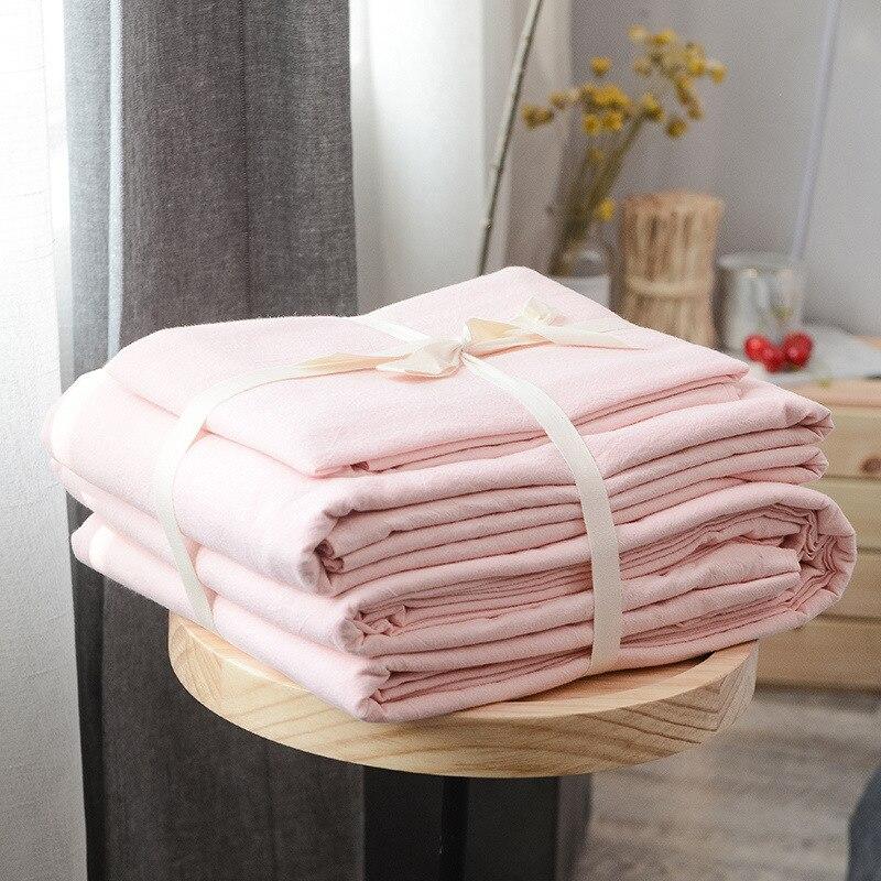 Japanese style 100 cotton wash cotton 3 4pcs bedding sets duvet cover flat sheet pillowcase Osyter