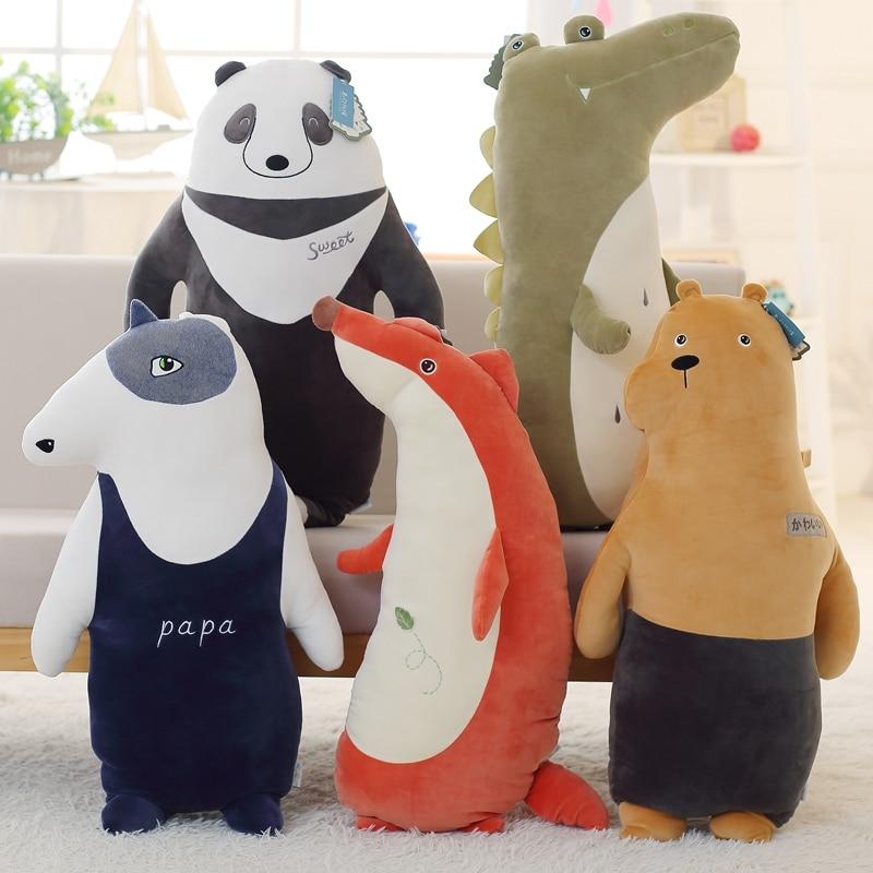 80cm forest animals plush toy soft stuffed panda dog bear crocodile fox pillow kids birthday gift home sofa decor on sale цена