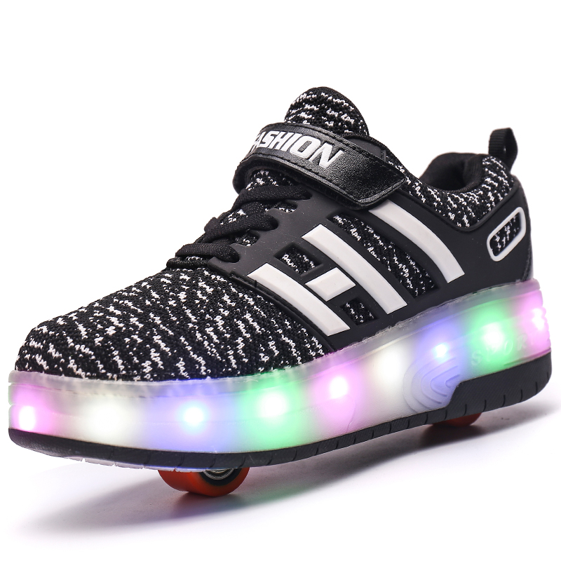 LED Children Wheels Shoes Fashion Breathable Boys Girls Sports Casual Roller Skates MaleFemale Kids Sneakers Eur Size
