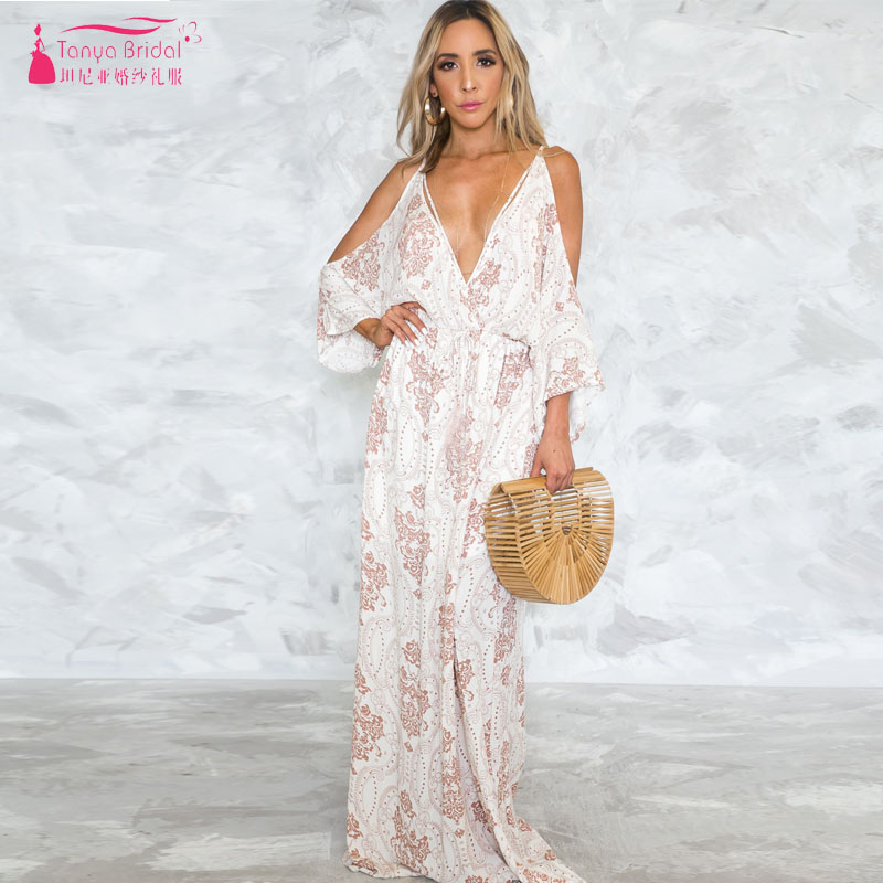 Floral Printed   Bridesmaid     Dresses   Deep V-Neck Backless Beach Boho Style Maid of honor gowns Women Formal Gowns Nightwear ZB061