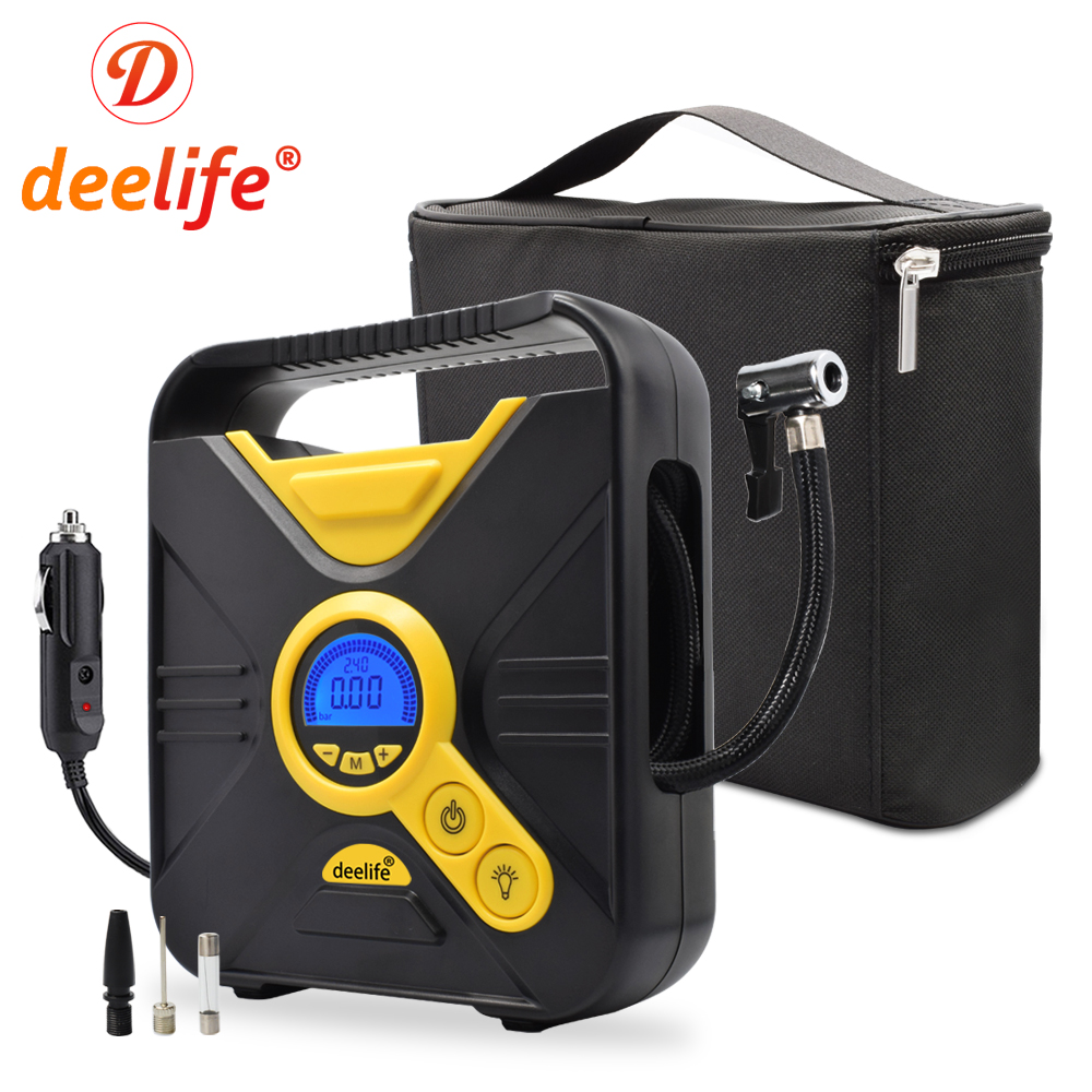 Deelife Digital Car Air Compressor Portable Tire Inflator Pump Auto Tyre Inflatable 12V Electric Mini for