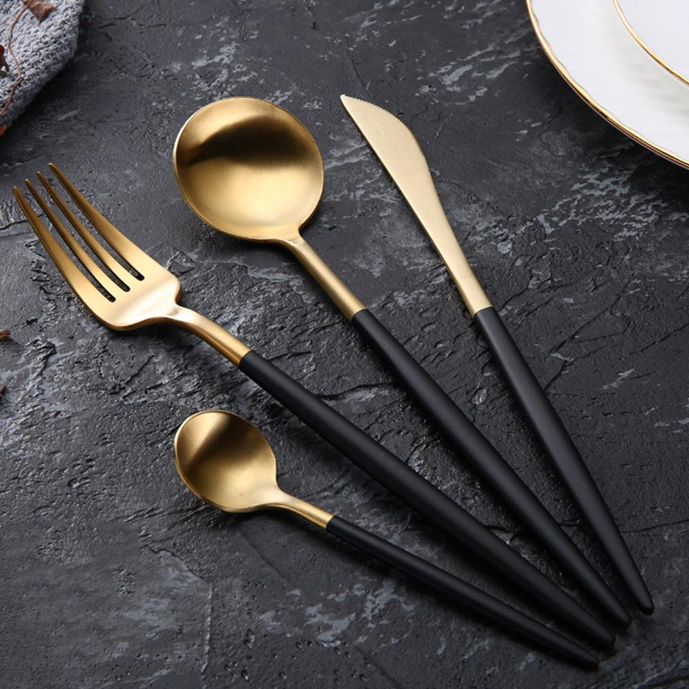 Juego de cubiertos de acero inoxidable de lujo chapado en oro - Cocina, comedor y bar