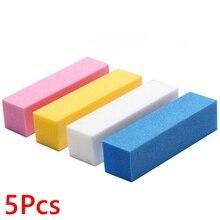 5Pcs Nail File Buffer Polisher Sanding Block 4 Sides Polished Lime A Ongle Sponge Buffing Grinding