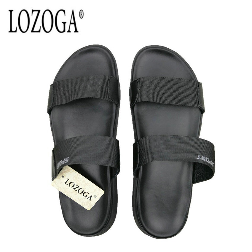 d96a306804f332 Lozoga Men Sandals Open Toe Summer Casual Sandals High Quality Handmade  Concise Beach Shoes Black Luxury Brand Shoes Comfortable-in Men s Sandals  from Shoes ...