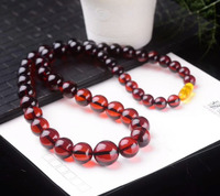 Certificate Natural Blood Red Amber Gemstone Crystal Round Beads Big Size Woman Healing Stone Necklace 9 15mm AAAAA