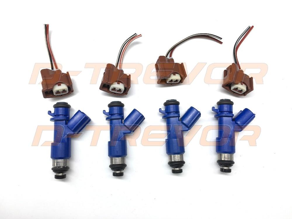 4PCS 410CC Fuel injector 16450 RWC A01 with plug wiring for Honda Acura RDX B16 B18 K20 K24 DC EG EK ITR CTR 16450RWCA01