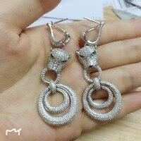 Luxury brand jewelry 3A cubic zirconia leopard earrings long panther earrings party jewelry
