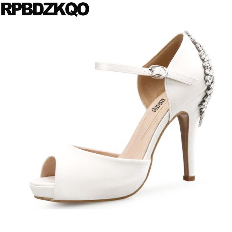 Thin Ankle Strap Ivory Bride Women Big Size White Satin Wedding Shoes Royal  Blue Rhinestone Crystal e15ccdeb1fe3