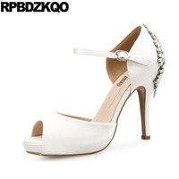Thin Ankle Strap Ivory Bride Women Big Size White Satin Wedding Shoes Royal Blue Rhinestone Crystal High Heels Peep Toe Pumps 11