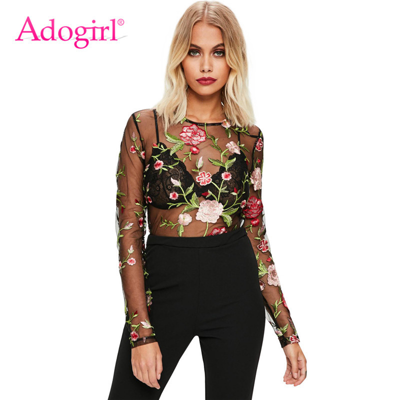 Adogirl Floral Embroider Sheer Mesh Patchwork Bodysuits O Neck Long Sleeve Rompers Briefs Women Fashion Tops Club Overall Outfit