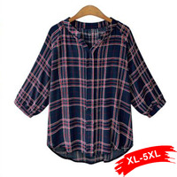 Europe Style Women Plus Size Plaid Blouse Three Quarters Sleeve Casual Tops 4Xl 5Xl Loose Blusa
