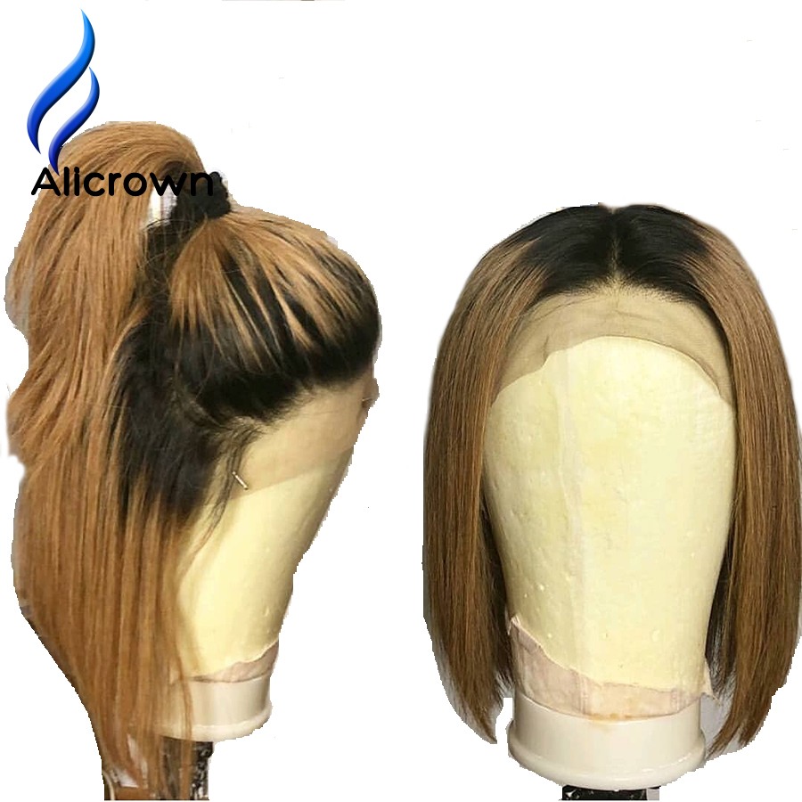 ALICROWN Ombre 1b 27 Lace Front Human Hair Wigs With Baby Hair Brazilian Remy Hair Bob