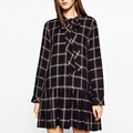 2017 Spring Women Plaid Shirt Dress Bow Tie Collar Long Sleeve Elegant Casual Loose Dresses Brand vestidos Plus Size XQB62049