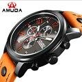 Amuda esportes dos homens relógios de quartzo dos homens relógios Top marca de luxo relógios de pulso de couro Relogio Masculino homens relógios 2016
