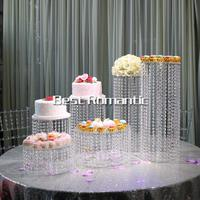 6 Size /Lot Wedding Crystal Cake Stand/6PCS Differents Stand Cake Stand With Led Light For Wedding Decoration FREESHIPPING
