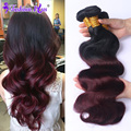 7A Ombre Hair Extensions Brazilian Body Wave 4 Bundles 1B/Burgundy Brazilian Virgin Hair Ombre Brazilian Hair Remy Human Hair