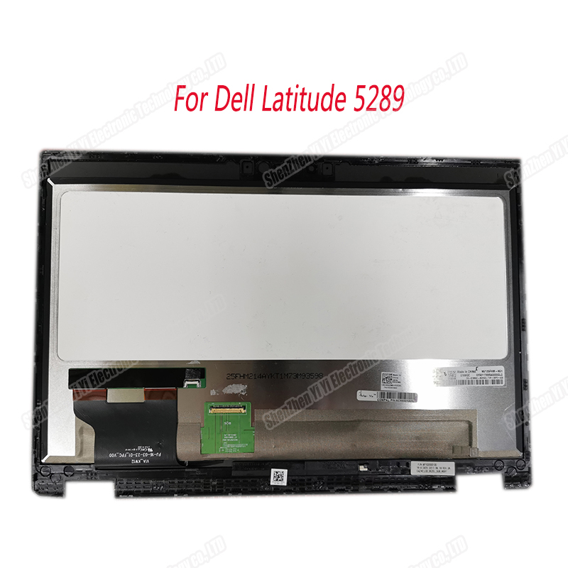 12.5 HD For Dell Latitude 5289 1080P NV125FHM N51 LED LCD Touch Screen Assembly Replacement with Frame