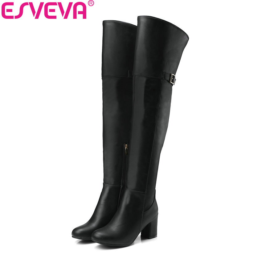ESVEVA 2018 Women Boots Concise Over The Knee Boots Short Plush Round Toe Square High Heel Out Door Ladies Long Boots Size 34-43 esveva 2018 women boots square heels pu leather short plush out door high heels ankle boots round toe ladies boots size 34 43