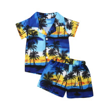 1-6Years Hawaiian Style 2pcs Toddler Kids Boys Summer Outfits Holiday Beach Floral Short Sleeve Shirt Top +Shorts Set
